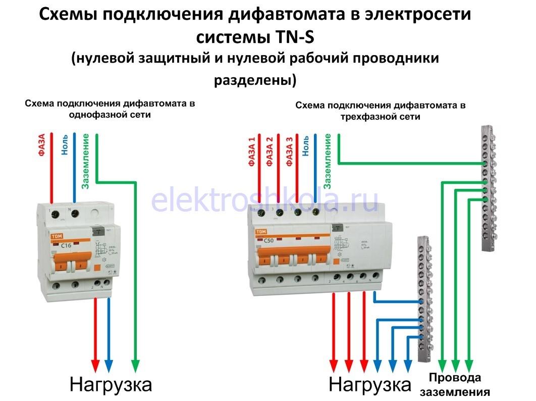 схема подключения дифавтомата в трехпроводную и пятипроводную сеть
