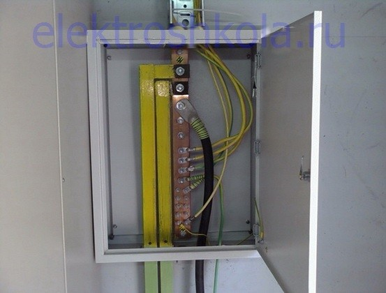 Главная заземляющая шина (ГЗШ) установленная в отдельном ящике (щите)
