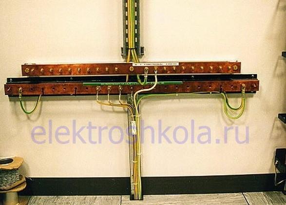 Главная заземляющая шина (ГЗШ) установленная открыто