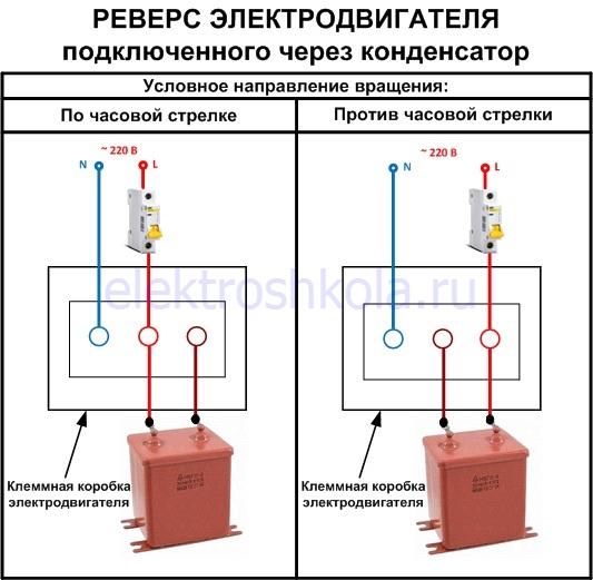 изменение направления вращения двигателя подключенного через конденсатор