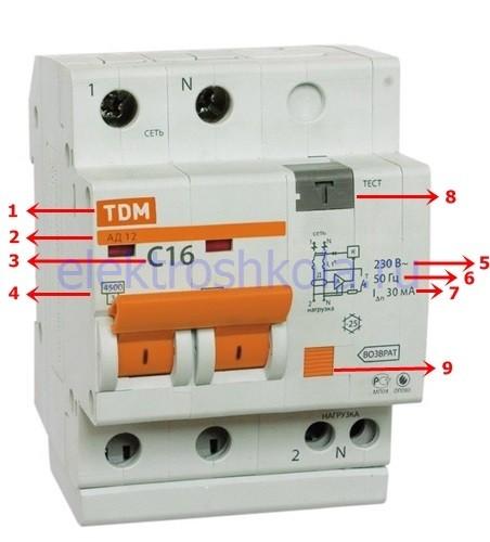 маркировка и характеристики диференциального автоматического выключателя