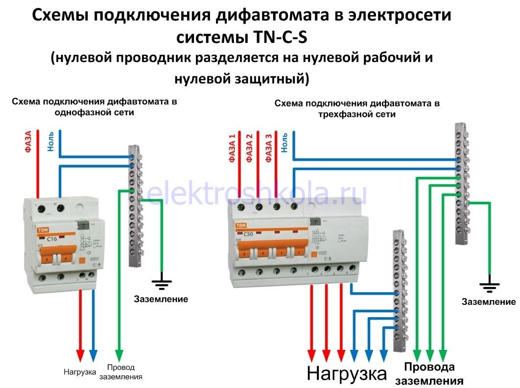 схема подключения дифавтомата с заземлением