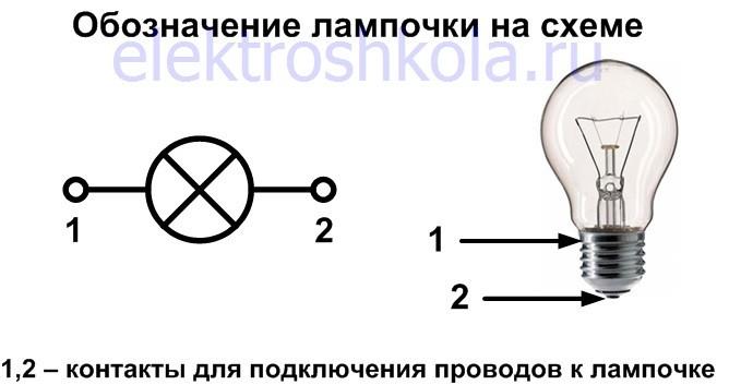 Обозначение лампочки на электрической схеме