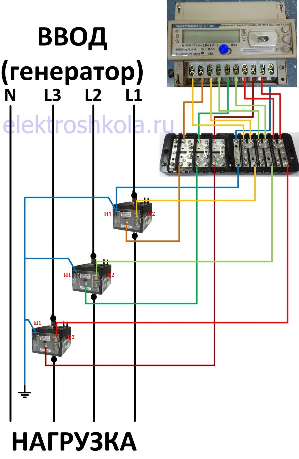 Схема подключения счетчика через трансформаторы тока семипроводная