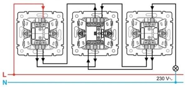подключение проводов к перекрестному выключателю