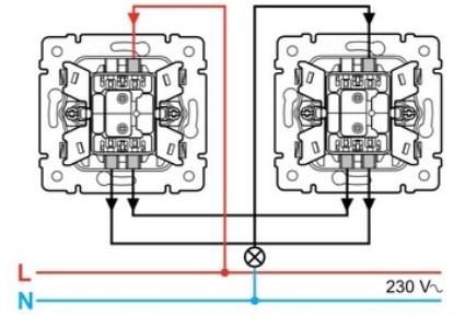 подключение проводов к одноклавишному проходному выключателю