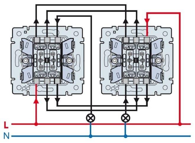 подключение проводов к двухклавишным проходным выключателям
