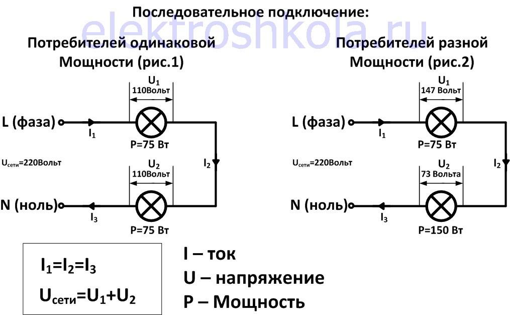 Последовательное подключение нагрузки в электросеть