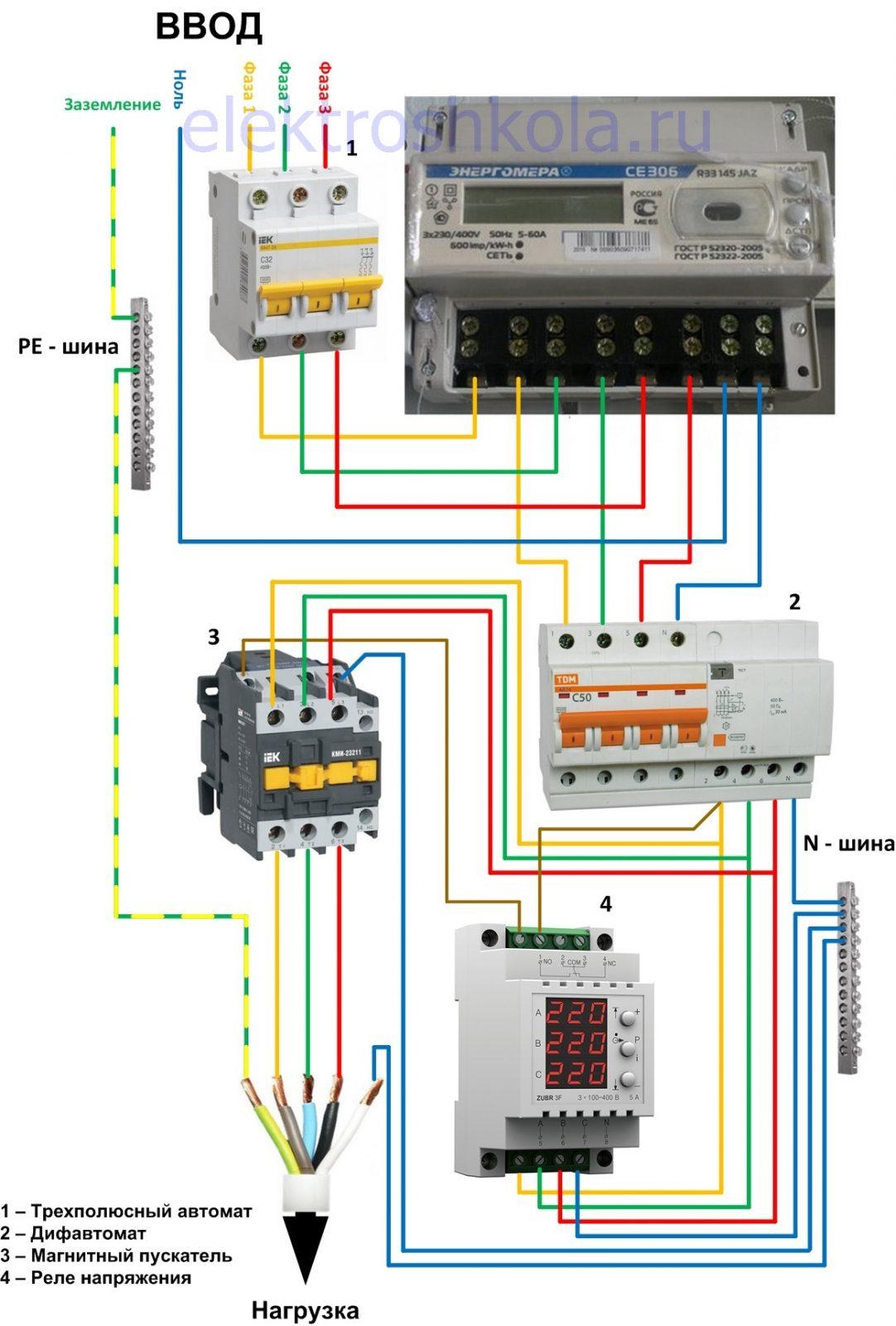 схема подключения трехфазного реле напряжения опосредованного (косвенного) включения с магнитным пускателем (контактором)