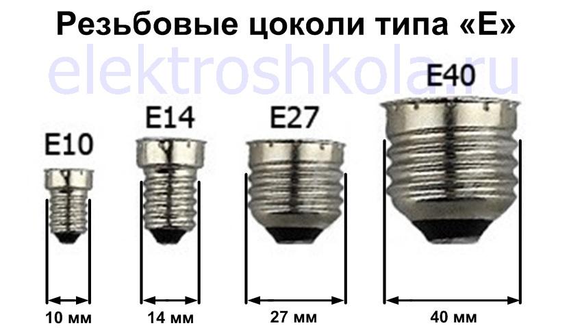 резьбовые цоколи типа E