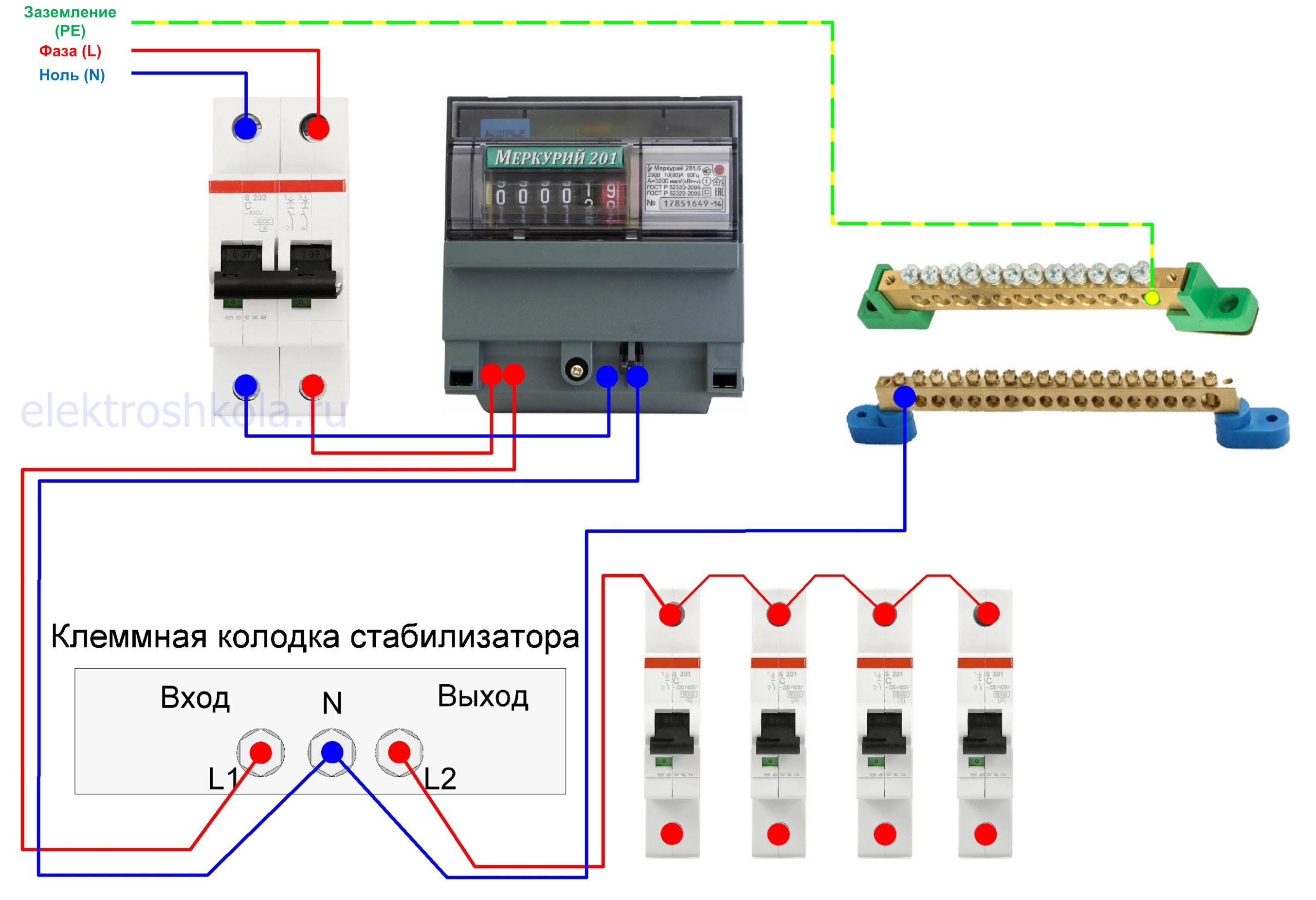 схема подключения однофазного стабилизатора в водном электрощите