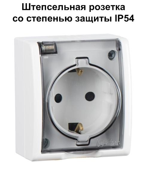 влагозащищенная розетка со степенью защиты IP54