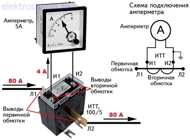 измерение тока через измерительный трансформатор