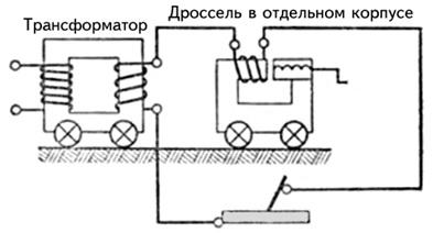устройство сварочного трансформатора с дросселем в отдельном корпусе